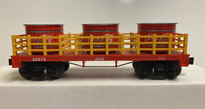 Lionel O Scale Coca Cola Flat Car With Vat Load  #26670