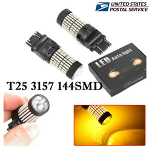 2x Amber 3157 3156 Led Light Bulbs Indicator Turn Signal 3057 T25 Yellow 3000k