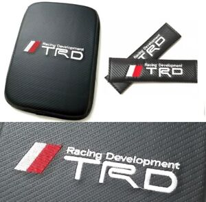 For Jdm Trd Carbon Fiber Car Center Console Armrest Cushion Mat Pad Cover Combo