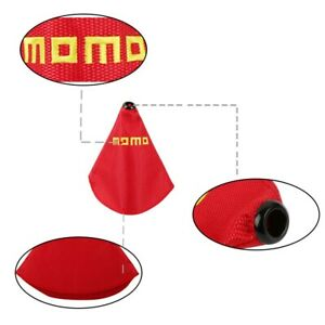 Momo Shift Knob Shifter Boot Cover Mt At W Red Stitches Racing Fabric Jdm
