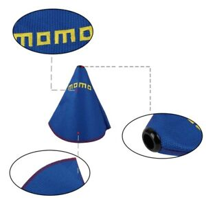 Momo Shift Knob Shifter Boot Cover Mt At W Red Stitches Racing Fabric Blue