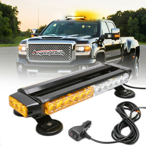 Yellow Emergency Light Bar Roof Strobe Beacon Warning Led Amber White Flash Top