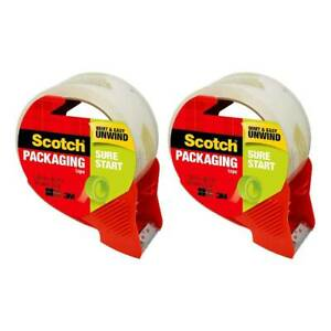Scotch Sure Start Shipping Packaging Tape With Dispenser 1 88in X 38 2yd 2 pack
