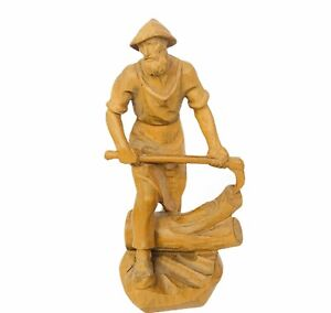 Ernst Huber Bavarian Carved Wood Figure Vtg Wooden Sculpture Scythe Axe Farmer