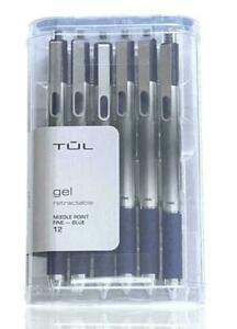 Tul 12pack Retractable Gel Pens blue Ink Needle Point Fine 0 5mm New Od98994