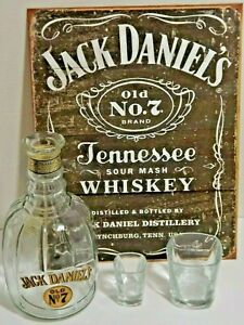 Jack Daniels Sign Old No 7 Whiskey Decanter Empty Bar Man Cave Georgia Tax Stamp
