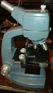 Bausch Lomb Laboratory Precision Microscope 3 Objectives Adjustable Tray