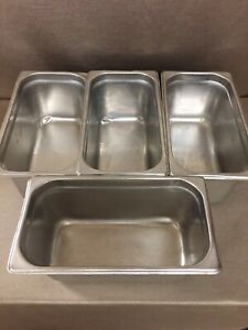 Four 22 Gauge Stainless Steel Steam Table Pan 6 5 Quart