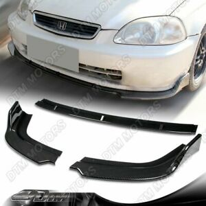 For 96 98 Honda Civic 3 Piece Jdm Cs Style Carbon Look Front Bumper Body Kit Lip