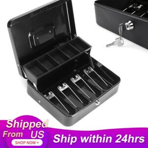 Cash Box Secure Lock Registered Mini Safe Portable Money Box With Coin Tray