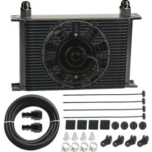 30 Row Engine Transmission Oil Cooler 6an Nylon Braided Hose Electric Fan Kit