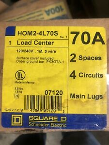 Square d Homeline 70 amp 2 space 4 circuit Indoor Main breaker Panel Load center