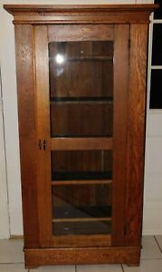 Antique Oak Mission Style Arts Crafts Hand Made Glass Door Cabinet