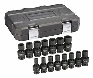 Gearwrench 84939n 15 Pc 1 2 Dr 6 Pt Metric Universal Swivel Impact Socket Set
