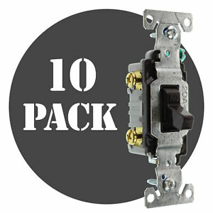 Hubbell Rs115z Toggle Switch 1 pole Grounding 15a 120v Brown 10 pack