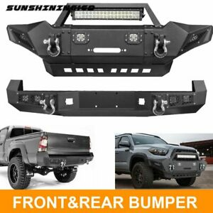 Front Bumper Rear Bumper W led Lights Winch Plate D ings Fit Toyota Tacoma 05 15