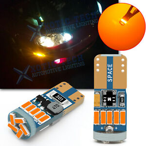 T10 168 194 192 175 2825 Led Side Marker Light Bulbs 3k Amber Canbus Error Free