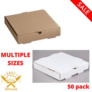 50 Pack Corrugated Plain Pizza Bakery Box Disposable Packaging Multiple Sizes