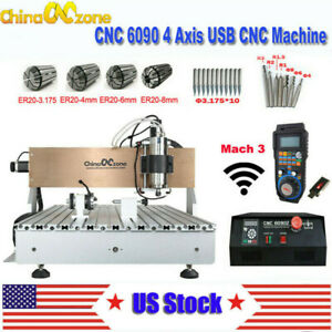 2 2kw Cnc 6090 4axis Router Milling Engraving Machine Carving Cutting Machine Us