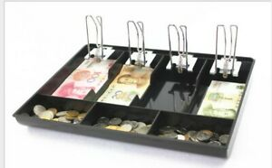 Cash Register Drawer Box 4 Bill 3 Coins Insert Tray Replacement Cashier W Clip
