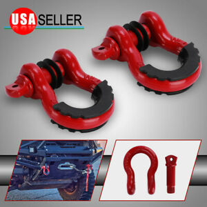 2pcs 3 4 Red 4 75 Ton D Ring Bow Shackles Kit With Black Isolators For Towing