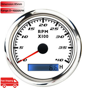 85mm 4000rpm Marine Tachometer Gauge With Lcd Hourmeter For Car Yacht Motorcycle