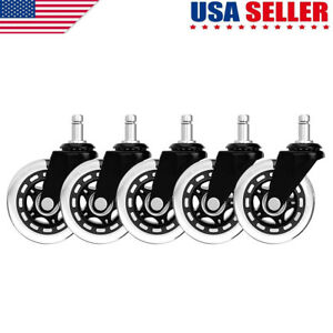 Set Of 5 3 Inch Office Chair Caster Rubber Swivel Wheels Replacement Heavy Duty