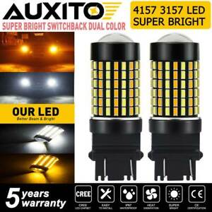 Auxito 4157na 3157 Switchback Led Turn Signal Light Smd Bulb White Amber Hd Lamp