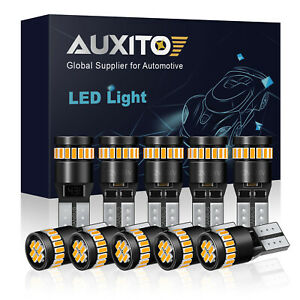 Auxito Canbus Led Front Sidemarker Light Bulbs 168 192 2825 2821 T10 3000k Amber