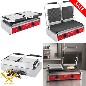 120v 3500w Double Grooved Electric Commercial Restaurant Panini Sandwich Grill