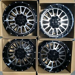 Used 20x12 D5 Fit Lifted Chevy 8x165 1 8x6 5 44 Black Machined Face Wheels Set