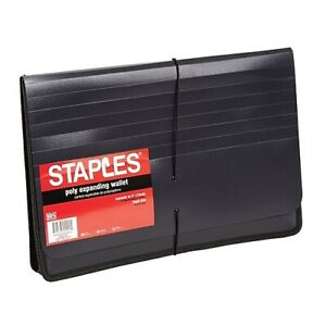 Staples Poly Expanding Wallets Expanding File Folder Legal 5 Black 11884