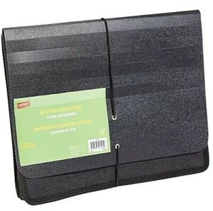 Staples Poly Expanding Wallets Expanding File Folder letter 5 Black 10772