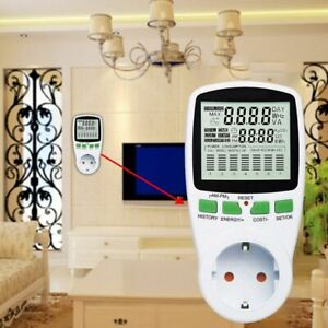 Electric Power Consumption Meter Measures Energy Use Cost Of Running Appliance