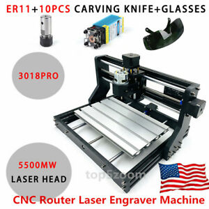 Cnc 3018pro Grbl Control Engraving Machine Mini Diy Wood Router 5500mw Laser
