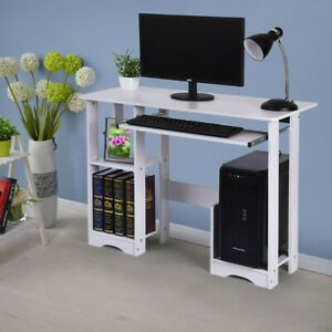 Wood Modern Computer Desk Pc Workstation Study Table Home Office W cpu Stand