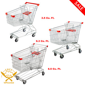 Supermarket Grocery Cart Rolling Shopping Baskets Swivel Wheels Multiple Sizes