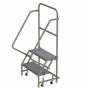 2 step Steel Rolling Ladder W steps casters 16inwx10ind Plat 450lb Cap