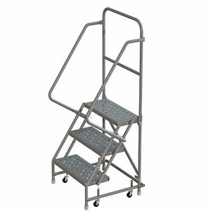 3 step Steel Rolling Ladder W steps casters 24inwx10ind Plat 450lb Cap