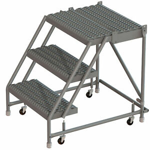 3 step Steel Rolling Ladder W steps casters 16inwx20ind Plat 450lb Cap