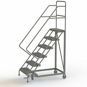 6 step Steel Rolling Ladder W perforated Steps Gry 60inh Top Step 24in 450lb Cap