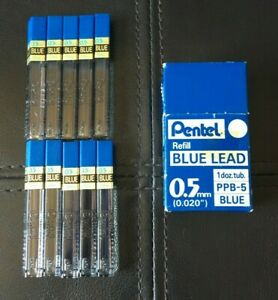 New Open Box 10 Full Tubes Pentel Ppb 5 Blue 0 5mm Mechanical Pencil Refill Lead