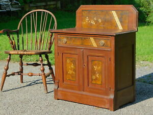 Antique 1890s Original Stenciled Cottage Chest Dresser Vanity Washstand Commode
