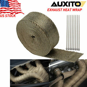 2 X50ft Roll Titanium Header Turbo Pipe Manifold Exhaust Heat Wrap Tape 10 Ties