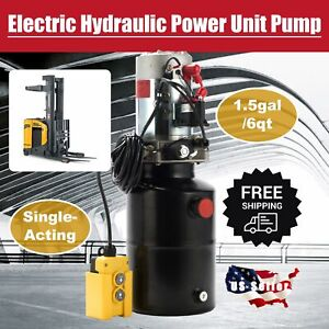 12v Electric Single Acting Hydraulic Pump High Pressure Pump 6 Quart