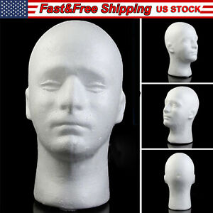 Us Male Foam Mannequin Head Model For Showcase Display Glasses Hat Wig Scarves