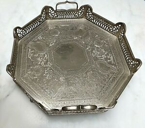 Stunning Silver Plated Footed Serving Butlers Tray Etched Bar Tray 13 5 X 4