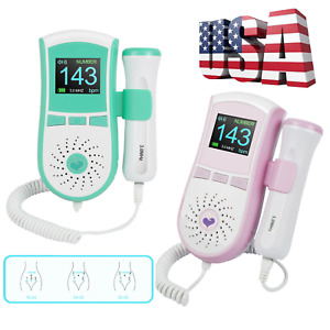 Us Ship 3mhz Pocket Fetal Doppler Lcd Baby Heart Rate Monitor Pregnancy 2color