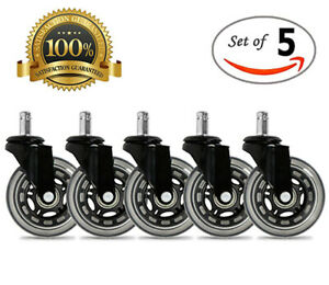 Universal Office Chair Caster Wheels Set Of 5 Heavy Duty Safe 3 Rollerblade