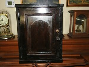 Antique Vintage 2 Shelves Wooden Medicine Cabinet With Lock Key